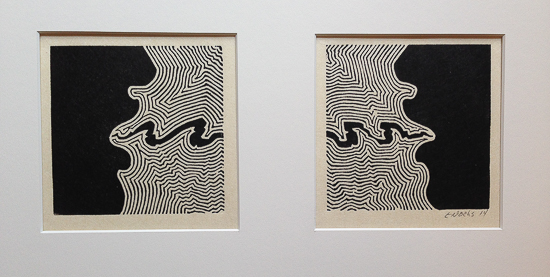 Two linocuts of silhouetted faces with energy running between them.