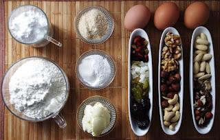Pastel de frutos secos - ingredientes