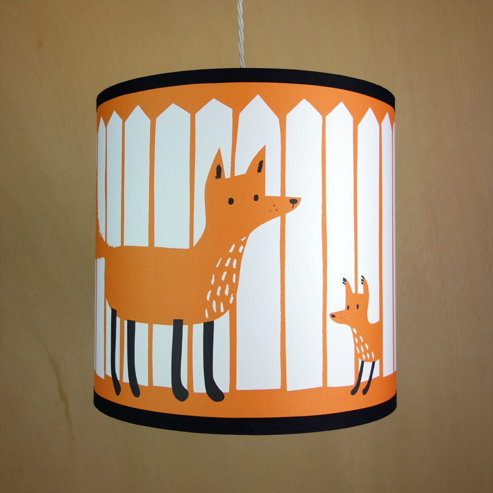 Handmade drum lampshade illustrated with fox and cub