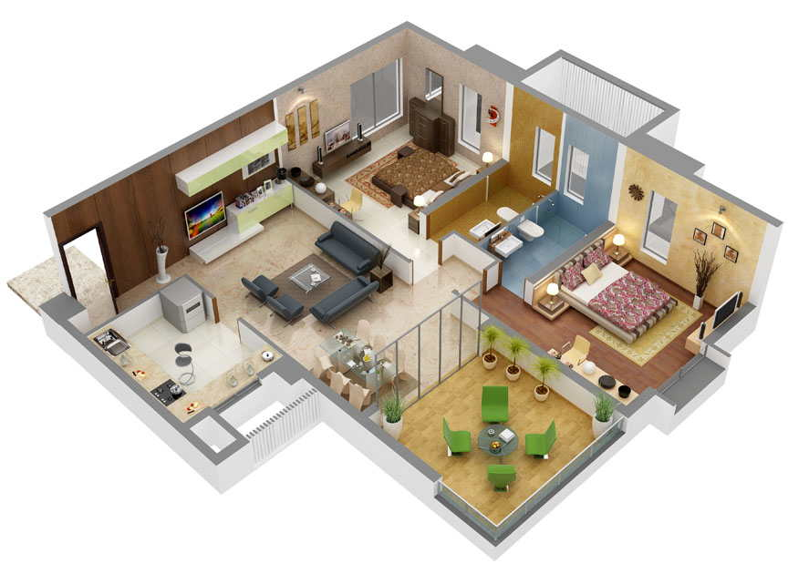 13 awesome 3d house plan ideas that give a stylish new for One floor house design plans 3d