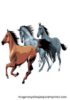 Horses running for printing