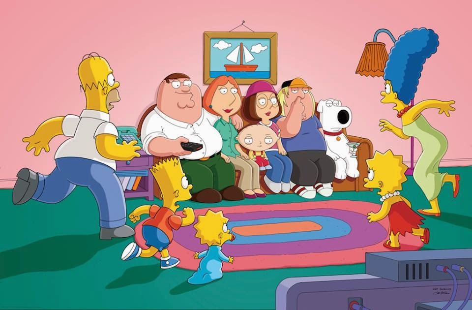 The Couch gag in The Simpsons Family Guy crossover episode The Simpsons Guy