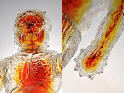 LASH x SpasmOne Unpainted Crystal Clear Ollie with Guts Insert Vinyl Figure