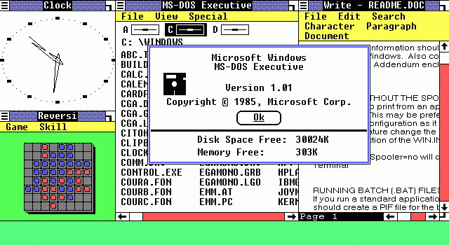 1985  Windows 1.0