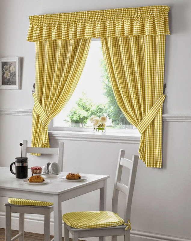 Gingham Check Kitchen Curtains