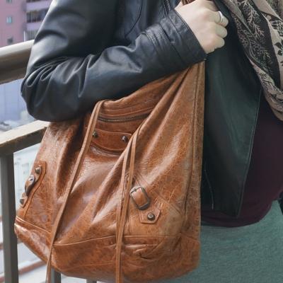 AwayFromTheBlue | Balenciaga truffle brown RH classic day bag