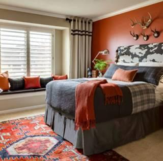 Diseño dormitorio gris rojo