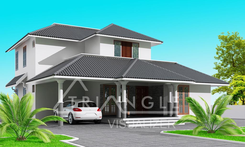 Trendy 3 Bedroom Sloping Roof 1356 Sqft House Design