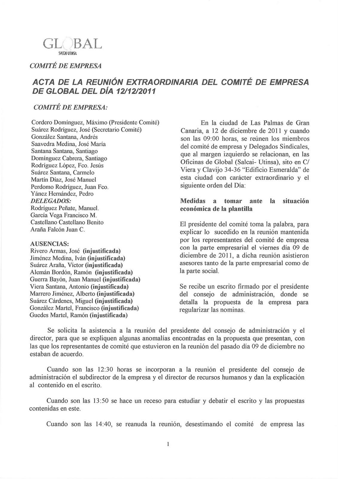 Comité de Empresa Global (Salcai-Utinsa): 2011