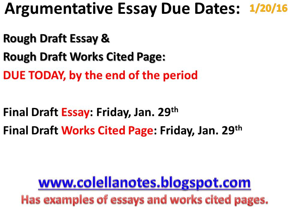 Argumentative essay with a work cited examples