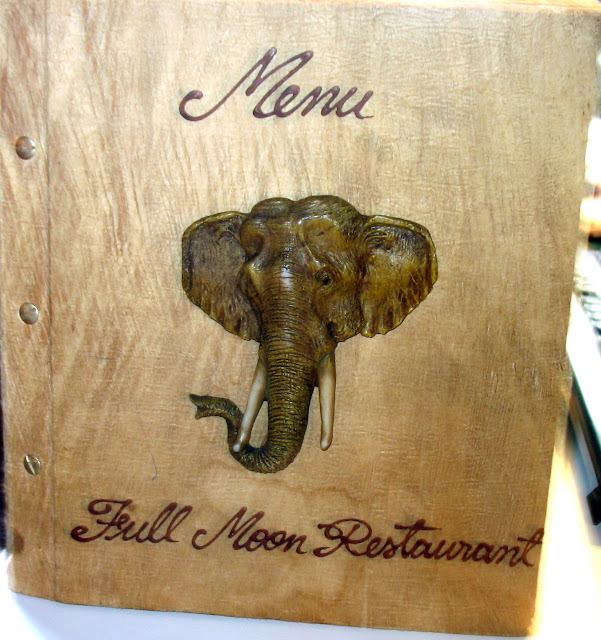 Full Moon Restaurant menu with an elephant on it