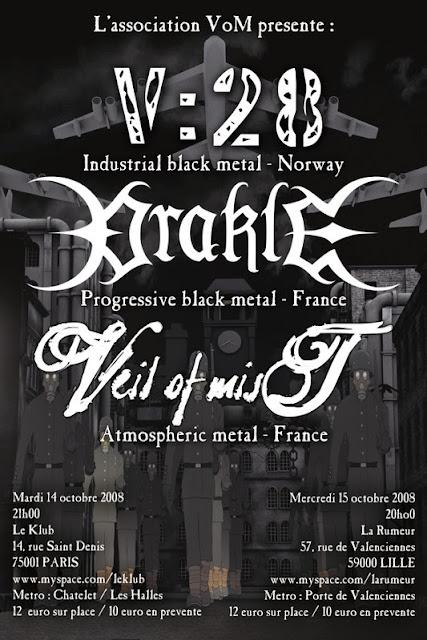 V:28 / Orakle / Veil of Mist @ La Rumeur, Lille le 15/10/2008
