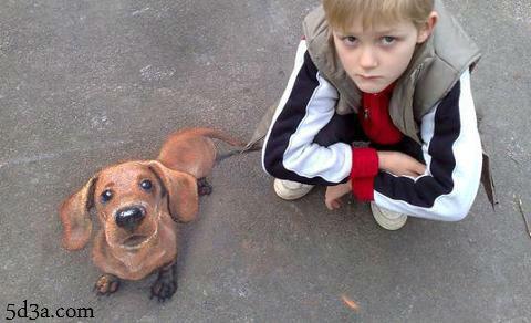 ما الغريب في صورة الطفل والكلب ؟ خدع بصرية