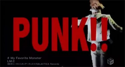 """PUNK!!"" in large red letters over Maya dancing."