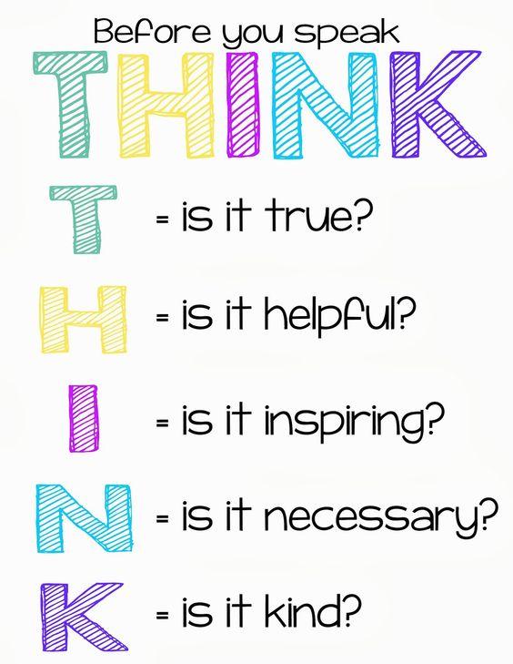 Antes de falar Pense!