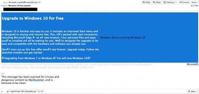 Golpe virtual disfarçado de atualização do Windows 10