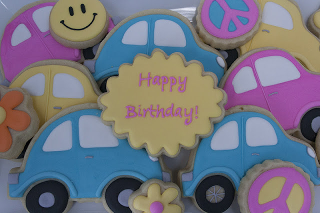 60s themed birthday cookies
