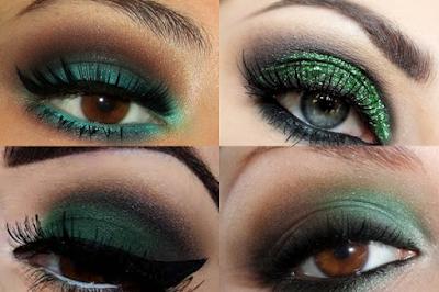 maquiagem sombra verde olhos