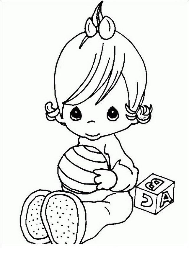 Contemporáneo Momentos Preciosos Bebé Niña Para Colorear Bosquejo ...