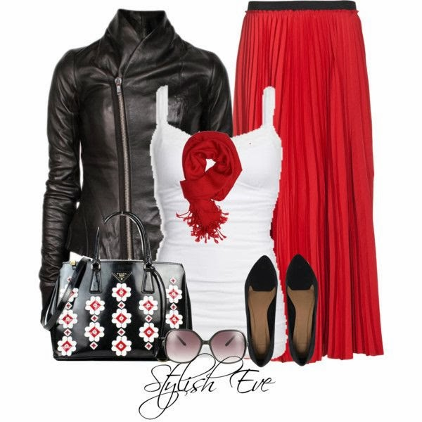 Red scarf with long skirt black leather jacket shoes with white blouse