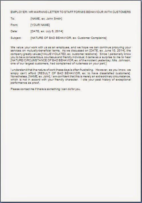 warning letter to employee bad behavior