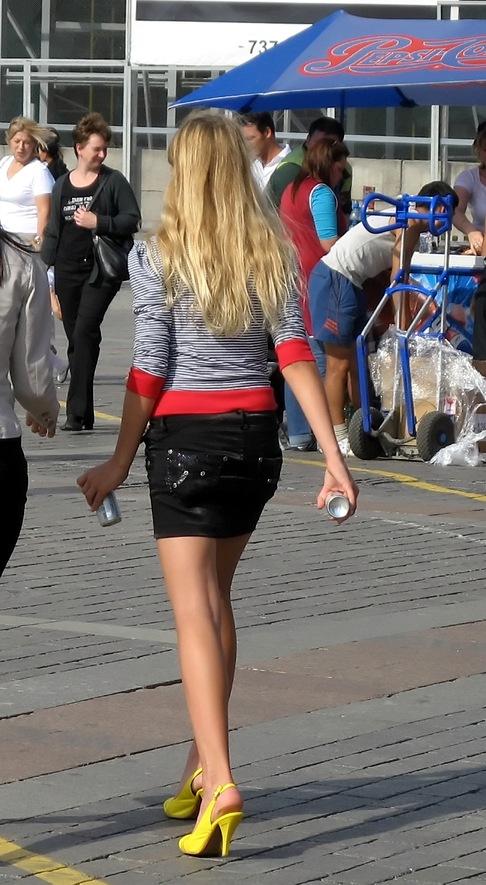 Girl wearing mini-skirt
