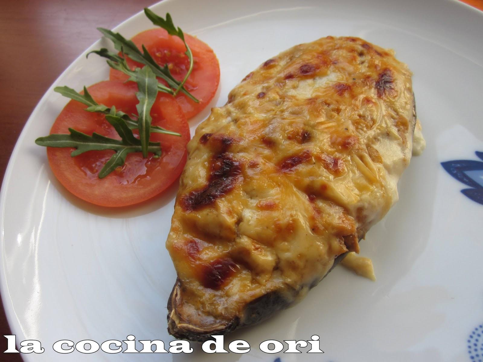 La cocina de ori berenjenas rellenas de atun for Cocina berenjenas rellenas
