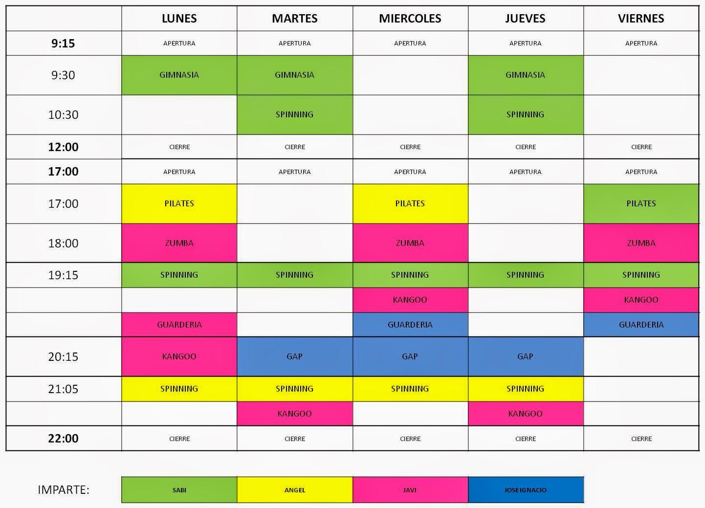 A ora directo nuevos horarios del gimnasio municipal for Horario gimnasio