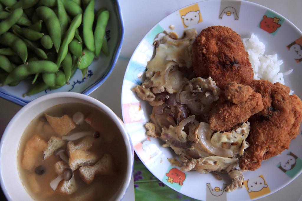 ... dinner from top,clockwise : Edamame,Katsu-oyakudon,shimeji miso soup