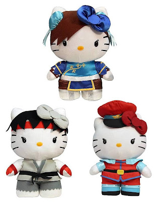 Sanrio x Street Fighter Hello Kitty Series 1 Plush Figures by Toynami - Chun-Li, Ryu & M. Bison