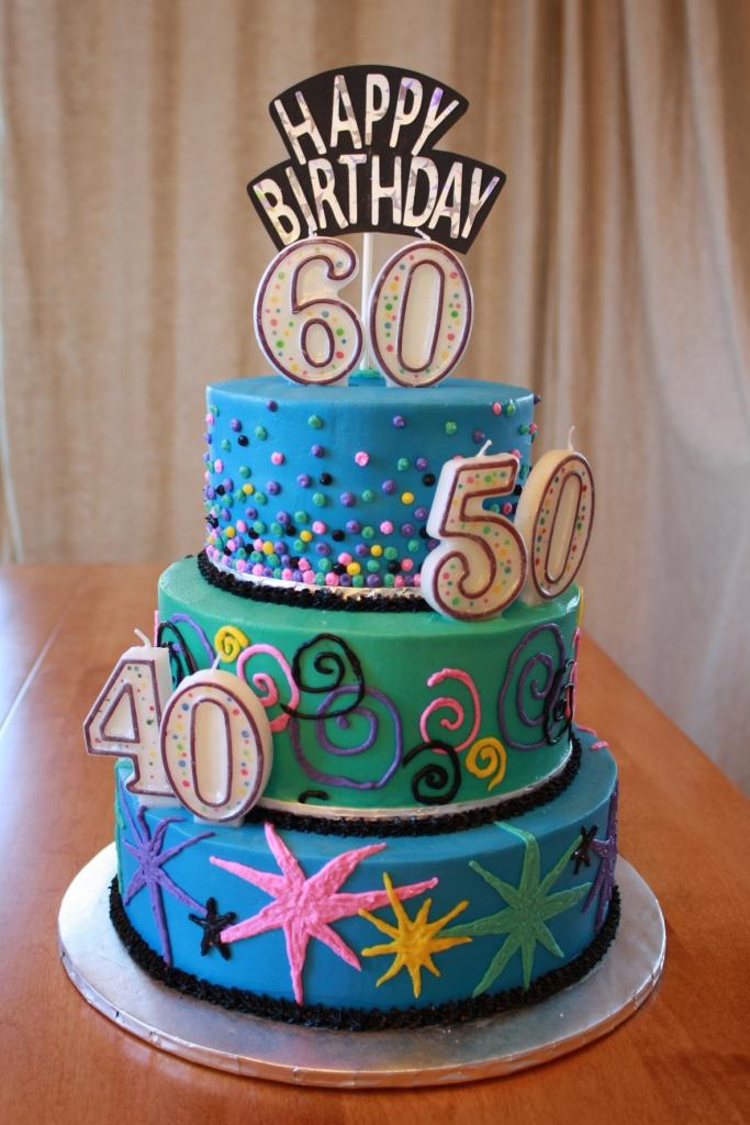 Party Cakes 40 50 60 Birthday Cake 3 Tiers