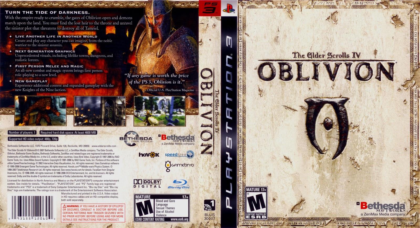 Capa The Elder Scrolls IV Oblivion PS3