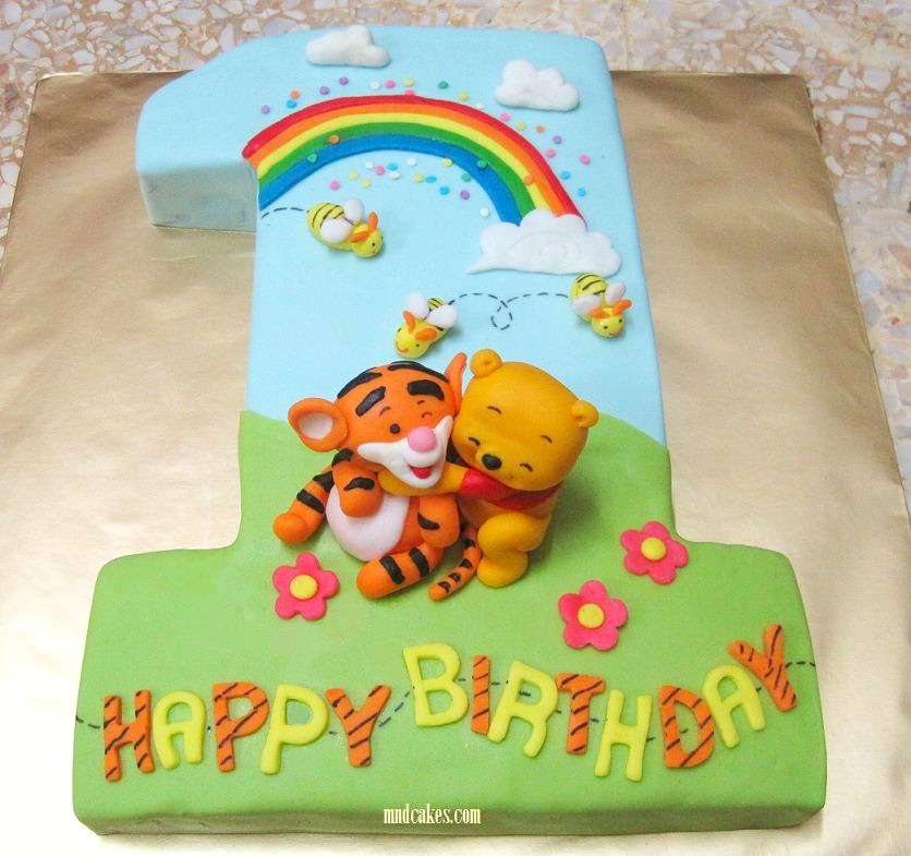 Cake Design For One Year Birthday : Mom And Daughter Cakes: Tigger On No.1 Fondant Birthday Cake