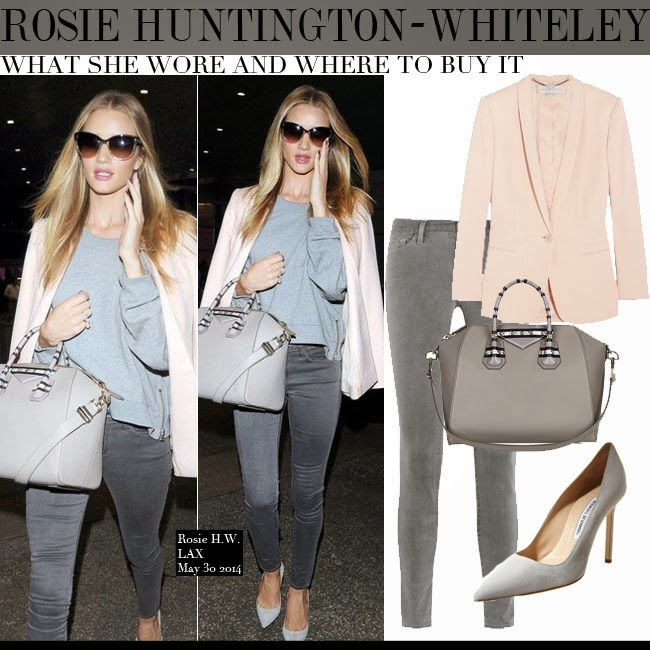 Rosie Huntington-Whiteley in pink blazer Stella McCartney Mattea, grey  sweatshirt, grey skinny bfcf7db016