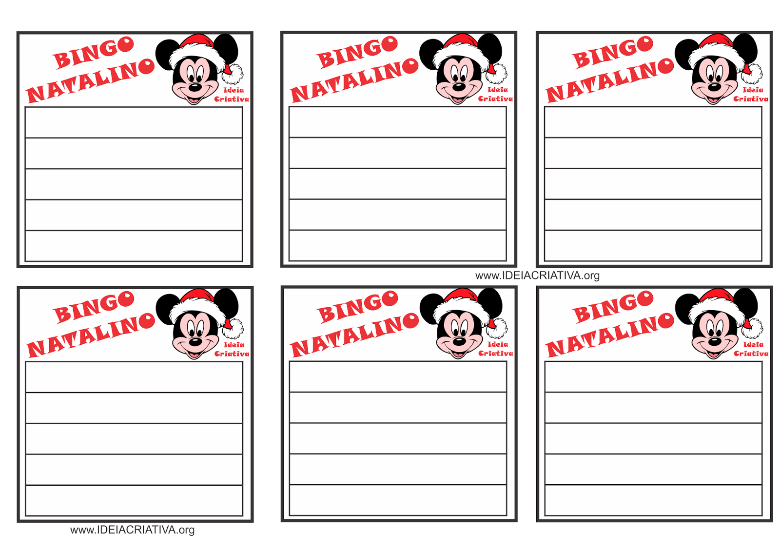 Cartela para Jogo de Bingo Natalino Mickey