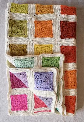 free crochet pattern granny square rainbow blanket