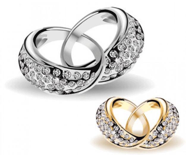 Anillos de boda en oro blanco y oro amarillo
