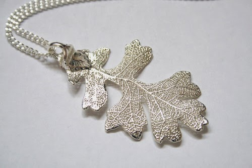 Real Oak leaf necklace - silver