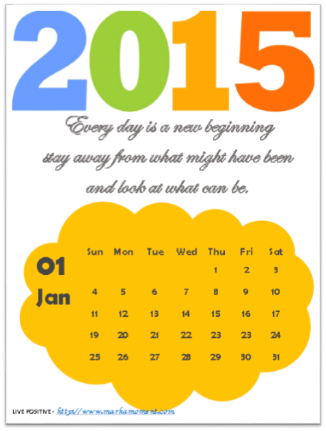 2015 Yearly Motivational Thoughts Calendar