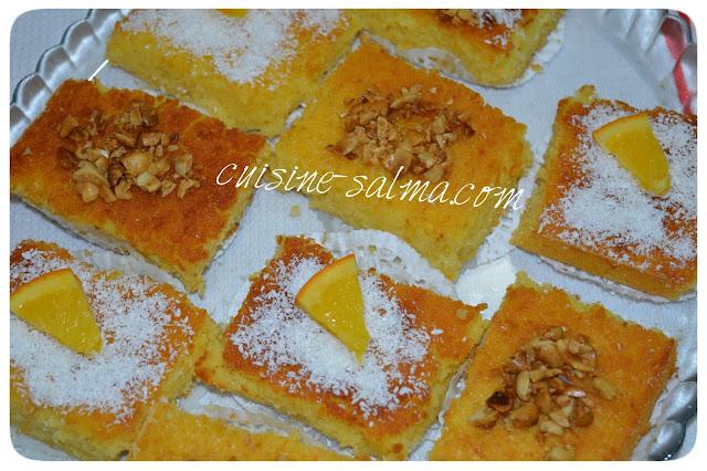 بسبوسة, هشة ,ولذيذة, بالبرتقال ,Basboussa, à, l'orange, et ,noix, de ,coco