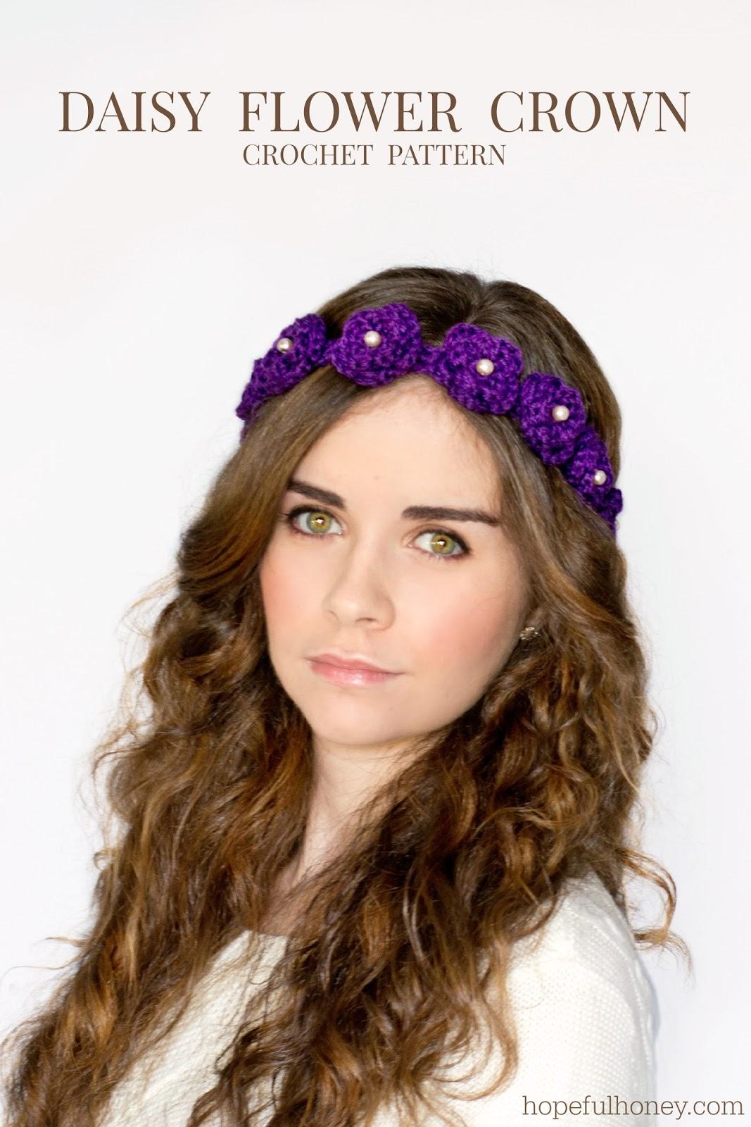 Crochet Flower Crown Tutorial : Hopeful Honey Craft, Crochet, Create: Daisy Flower Crown ...