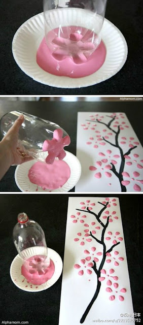 Reciclatex Cómo pintar flores de cerezo con una botella