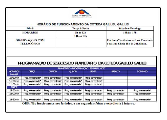HORÁRIOS DE FUNCIONAMENTO E SESSÕES NO PLANETÁRIO