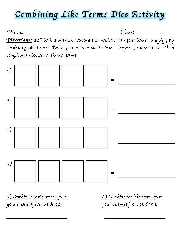 Worksheets Combining Like Terms Worksheet 7th Grade middle school math madness combining like terms terms