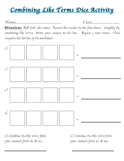 Combining like terms worksheet pdf