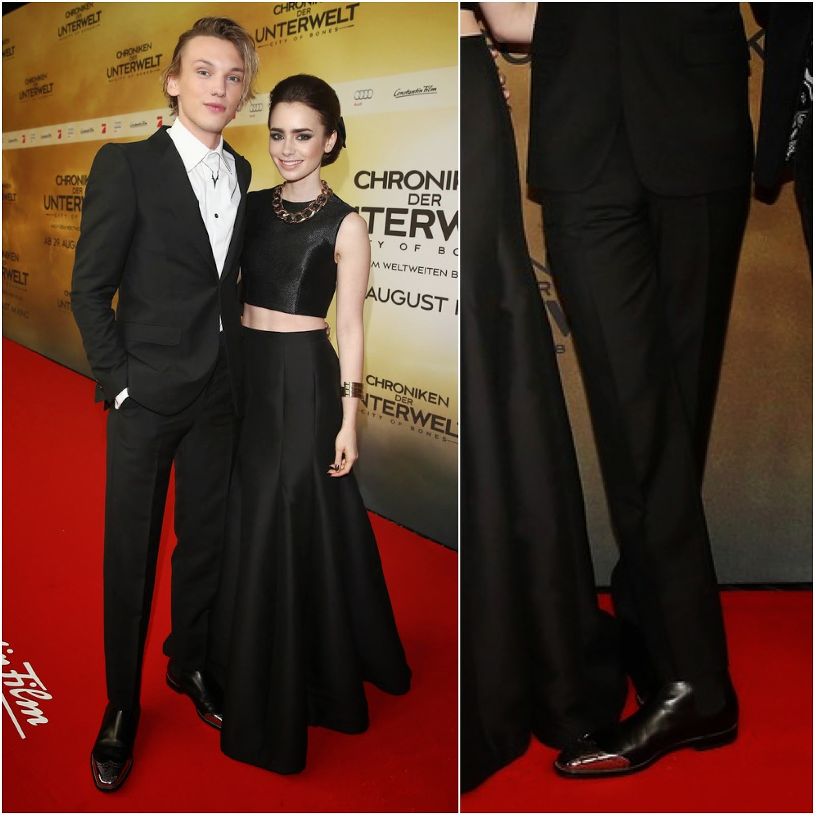00O00 Menswear Blog: Jamie Campbell Bower in Alexander McQueen and Christian Louboutin 'Jesse' calf boots - 'The Mortal Instruments: City of Bones' Berlin Germany Premiere August 2013