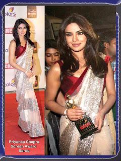 1202 Priyanka Chopra grace 18th Annual Colors Screen Awards in white saree