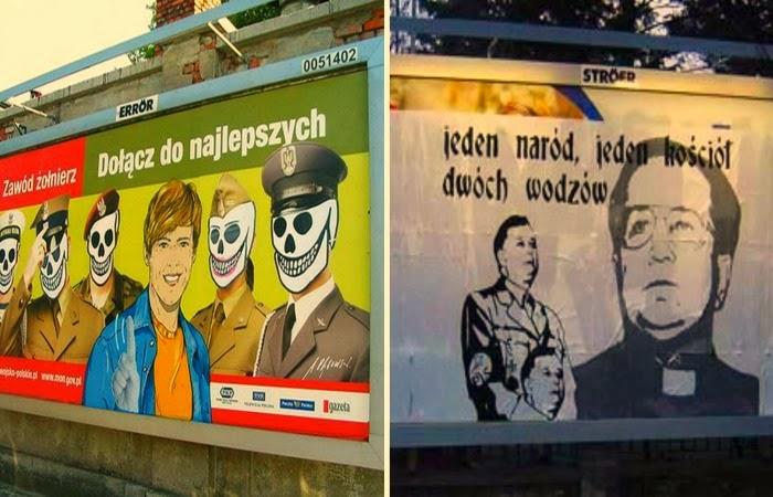 """Obraz: Polski adbusting Zawód żołnierz"""", """"Jeden naród, jeden kościół, dwóch wodzów""""."""