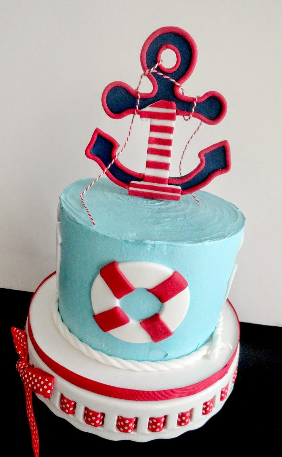 Pink Little Cake: Nautical Theme 1st Birthday Cake