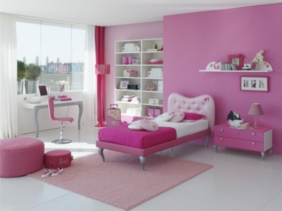 Bedroom decoration pink color for kids girls Bed designs for girls